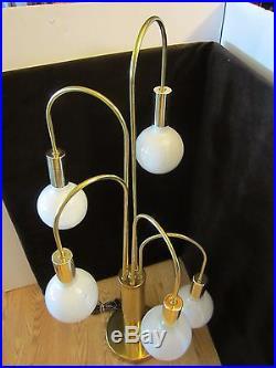 Mid Century Modern 5 Glass Globes Bulbs Brass Table Lamp Robert Sonneman era