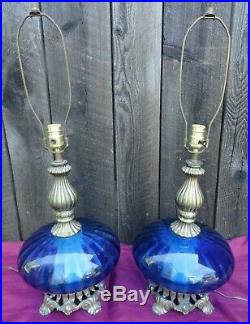 Mid Century Modern Cobalt Blue Optic Glass Saucer Table Lamp Atomic Vintage Pair