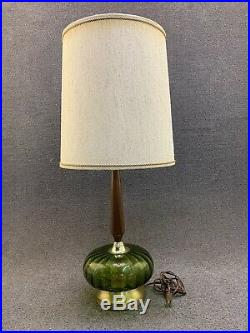 Mid Century Modern Hollywood Regency Green Glass & Walnut Table Lamp with Shade
