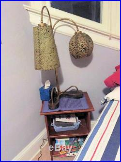 Mid-Century Modern Lamp, Fiber Glass Shades, Brass & Wood Base