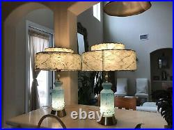 Mid Century Modern Matching Atomic Gold Flec Turquoise, 2 Tier, Table Lamps