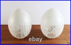 Mid Century Modern Pair Unique Venini Murano Glass Egg Table Lamp