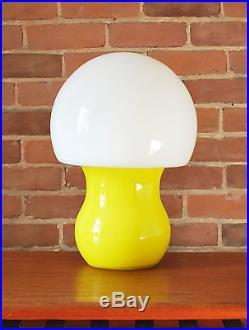 Mid Century Modern Swedish white opaline and yellow mushroom glass table lamp