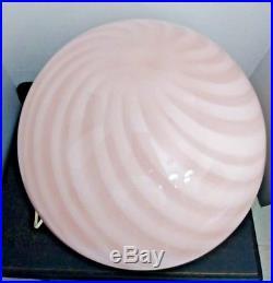 Mid Century Modern Vetri Murano Large Pink Spiral Art Glass Mushroom Table Lamp