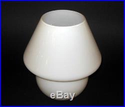 Mid Century Modern White Opaque Art Glass 9 Mushroom Lamp