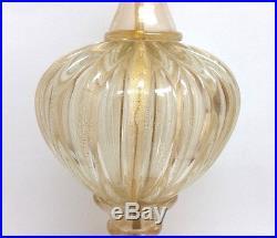 Mid Century Murano Barbini Ercole Barovier & Toso Large Swirl Gold Flecks Lamp