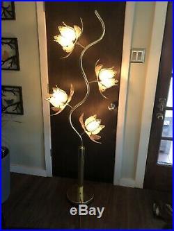 Mid Century/VTG Tall Lotus Flower Lamp White & Brass Metal, 4 Glass Shades