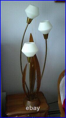 MidCentury Modern Danish Teak Wood 3 Glass Floor High Table Lamp Kitsch Tulip