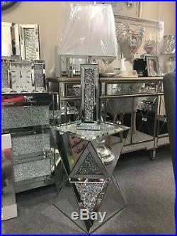 Mirror glass crushed crystal table lamp with silver threaded shade, sparkle lamp