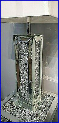 Mirrored Crushed Crystal Diamond Diamante Column Table Lamp with Shade