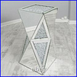 Mirrored Crushed Crystal Diamond Pedestal Table End Lamp Stand Lamp Vase Glitter