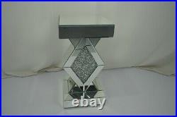 Mirrored Crushed Crystal Diamond Shape Pedestal Table End Table Lamp Venetian