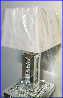 Mirrored Table Lamp and Shade Column Lamp Crushed Diamond Crystal Living Room