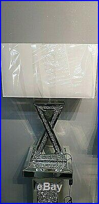 Mirrored Table Lamp with Shade Crushed Diamond Crystal Cross Shaped