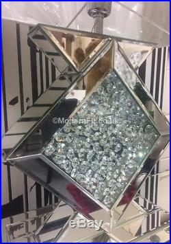 Mirrored With Floating Crystal Table Lamp, Mirrored Bedside Lamp White Shade