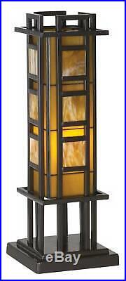 Mission Accent Table Lamp Iron Column Stained Glass for Living Room Bedroom Desk