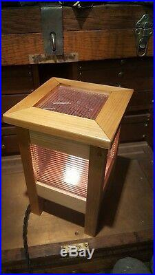 Mission Inspire Arts and Crafts Style Lamp Luxfer Glass Frank Lloyd Wright