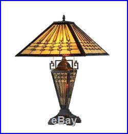 Mission Stained Glass Table Lamp Tiffany Style Shade Double Lit