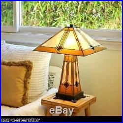 Mission Table Lamp 2 Light Lit Base Tiffany Style Stained Art Glass Handcrafted