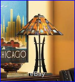 Mission Table Lamp 2 Light Tiffany Style Stained Art Glass Iron Base Column