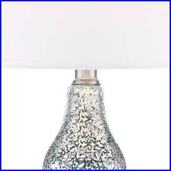 Modern Accent Table Lamps Set of 2 with USB Blue Mercury Glass for Living Room