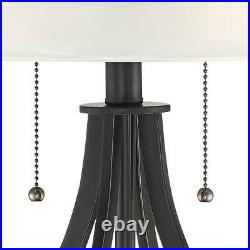 Modern Accent Table Lamps Set of 2 with USB Outlet Dark Metal for Bedroom Office
