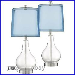 Modern Accent Table Lamps Set of 2 with USB Port Clear Glass Blue Shade Bedroom
