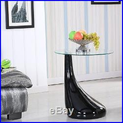 Modern Black Coffee Table Side /End Clear Glass Lamp Shape Living Room Furniture