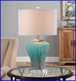 Modern Contemporary Turquoise Green Glass Brushed Aluminum Valtorta Table Lamp