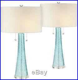 Modern Table Lamps Set of 2 Light Sky Blue Fluted Glass for Living Room Bedroom