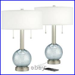 Modern Table Lamps Set of 2 with USB Charging Port Nickel Blue Glass Living Room