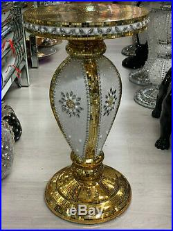 Modern Venetian Mirror Glass Side Table Lamp Diamante Stand Romany Italian