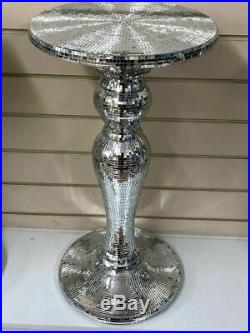 Modern Venetian Silver Miror Glass Side Table Lamp Diamante Stand Romany Italian