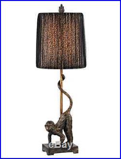 Monkey Table Lamp Leopard & Black Organza Shade Safari Jungle Animals 26H