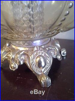 Monumental Carnival Glass Crystal Diffuser Vintage Table Lamp Large IRIDESCENT