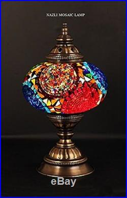 Mosaic Table Lamp Stained Glass Shade Turkish Light Moroccan Lamp Multi-Color