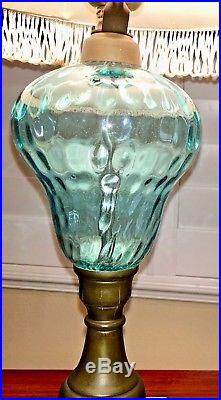Murano 21Glass Lamp, Mid-Century, Opaline Blue, Brass Stand with Marble Base. VTG