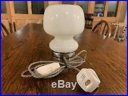 Murano 70s Space Age Lattimo Glass and Chrome Table/Bedside Lamp, Vintage MCM