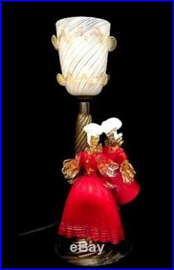 Murano Glass Table Lamp Latticino Shade & Red & Gold Lady and Gentleman Figures