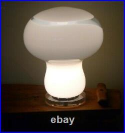 Murano Mushroom Table Lamp Light, Italian, with Clear Glass Swirl, Midcentury