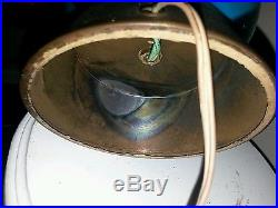 Murano large blue glass lamp swirl spiral design midcentury