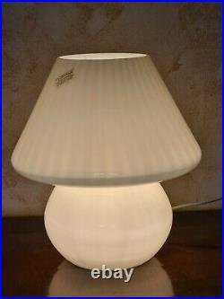 Murano mushroom lamp, white, for table, 70s, Made in Italy