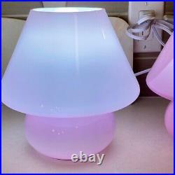 Mushroom Lamp Pink Glass Table lamp With US plug Comes With Lightbulb