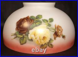 NEW 14 Dome Lamp Shade, Hand Blown English Roses, Table & Library Lamp #DS033