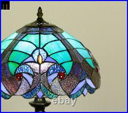 New Arrival JT Tiffany Stained Glass Blue Baroque Style Bedside Table Lamp
