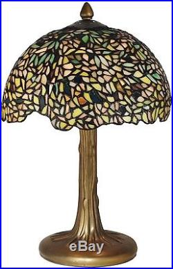 New Dale Tiffany Wisteria Table Lamp Green Hand-crafted Glass Bronze