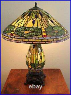 New Stained Glass Dragonfly Table Lamp With Lit Base Tiffany Glass Style 2013LB