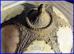 Nice Victorian Salem Bros Slag Glass Panel Table Lamp