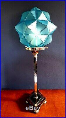 ORIGINAL 1930s ART DECO TABLE DESK LAMP CHROME STEM ICONIC GLOBE GLASS SHADE