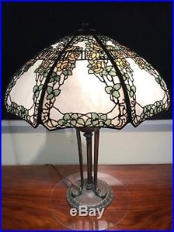ORIGINAL Handel Yellow Rose Trellis Table Lamp Tiffany Studios, Duffner, ERA